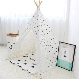 چادر کودک طرح مثلث love tree با پارچه صد در صد پنبه مناسب بازی کودکان 2 تا 10 ساله در منزل،خانه بازی و...