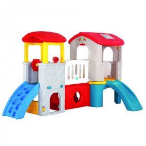 مجموعه بازی دو برج شامل دو برج،سرسره،صخره نوردی و تونل بوده و مناسب جهت استفاده چند کودک در مهد کودک منزل و خانه بازی