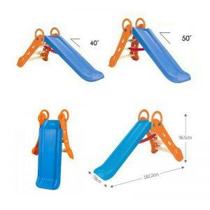 سرسره تاشو کودک با آب پاش با قابلیت تنظیم ارتفاع مناسب بازی برای کودکان 2 تا 6 ساله در فضاهای باز و بسته مهدکودک،خانه بازی،شهربازی سرپوشیده و منزل