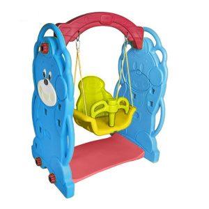 تاب کودک طرح خرس شامل یک تاب با گارد جلو و حفاظ پشتی،مناسب استفاده در منازل،مهدکودک ها و خانه های بازی