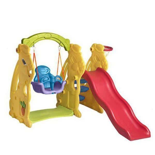 تاب و سرسره سنجاب دارای حلقه بسکتبال متصل به بدنه پلی اتیلنی و مناسب کودکان 1 تا 5 ساله