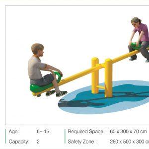 الاکلنگ دو نفره پارکی با جنس فلز و پلی اتیلن مناسب فضاهای باز و بازی کودکان 6 تا 15 سال
