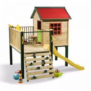 کلبه بازی چوبی کودک کد Tsc01 ساخته شده از چوب و فلز مناسب استفاده در فضاهای باز و بسته
