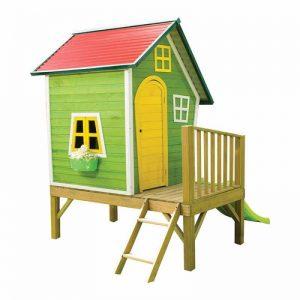 کلبه بازی چوبی کودک کد tsc02 دارای سرسره و نردبان و از جنس چوب و فلز مقاوم مناسب فضای باز و بسته