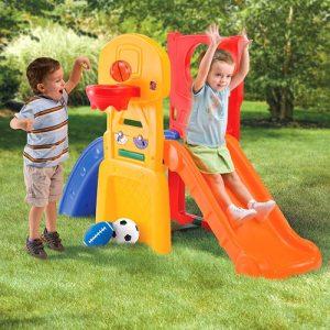 مجموعه بازی سرسره و صخره نوردی،شامل یک سرسره،بخش صخره نوردی برای کودکان نوپا،حلقه بسکتبال،سه مدل توپ فوتبال،بسکتبال و بیس بال مناسب کودکان 2 تا 6 سال