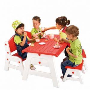 ميز و صندلی كودک Feber دارای يک صندلی دو نفره،دو صندلی تک و میز مناسب مهد کودک،رستوران کودک و...