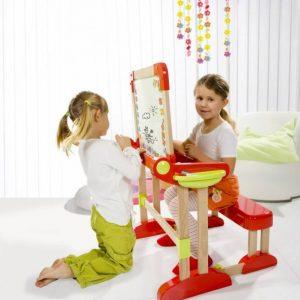 ميز و صندلی کودک با وايت برد و تخته سياه دارای نشیمن پهن برای استفاده همزمان دو کودک در منزل،مهد کودک،پیش دبستانی و...