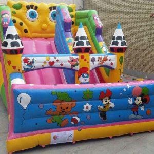 سرسره بادی باب اسفنجی 3 مناره کوچک با ارتفاع 4/2 مناسب تمامی مکان های باز وبسته تفریحی کودک