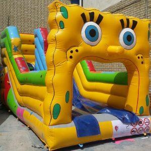 سرسره بادی باب اسفنجی کوچک با ارتفاع 2/5 متر مناسب مکان های تفریحی سرپوشیده و روباز کودکان