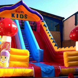 سرسره بادی شیروانی قارچ دار قابل استفاده در تمامی مکان های تفریحی روباز کودکان،شهربازی ها،پارک های بادی