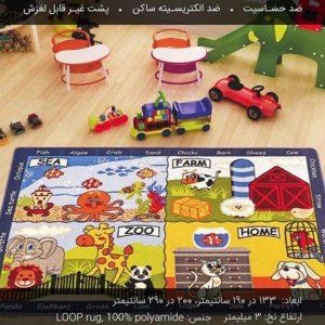 فرش کودک طرح دنیای حیوانات با کیفیت بالا مناسب آموزش نام و اشکال حیوانات به کودک در منزل،مهدکودک و...
